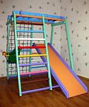 Детский спортивно игровой комплекс Малыш плюс (с деревянной горкой) для дома, фото 4