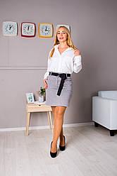 Женская короткая юбка Клер серая