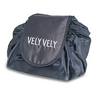 🔝 Большая дорожная женская раскладная косметичка -мешок Vely Vely Magic Travel Pouch Черная | 🎁%🚚
