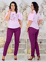 Женский костюм двойка (блузка + штаны) Батал 48 - 54 рр креп костюмка диагональ+ супер Софт, фото 1