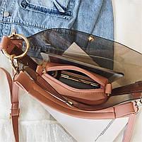 Модная женская сумка в сумке - прозрачная черная, фото 7