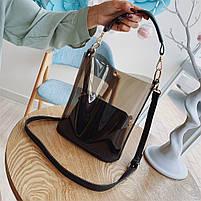 Модная женская сумка в сумке - прозрачная черная, фото 3