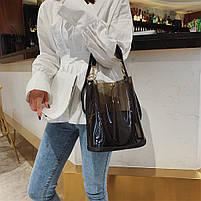 Модная женская сумка в сумке - прозрачная черная, фото 4