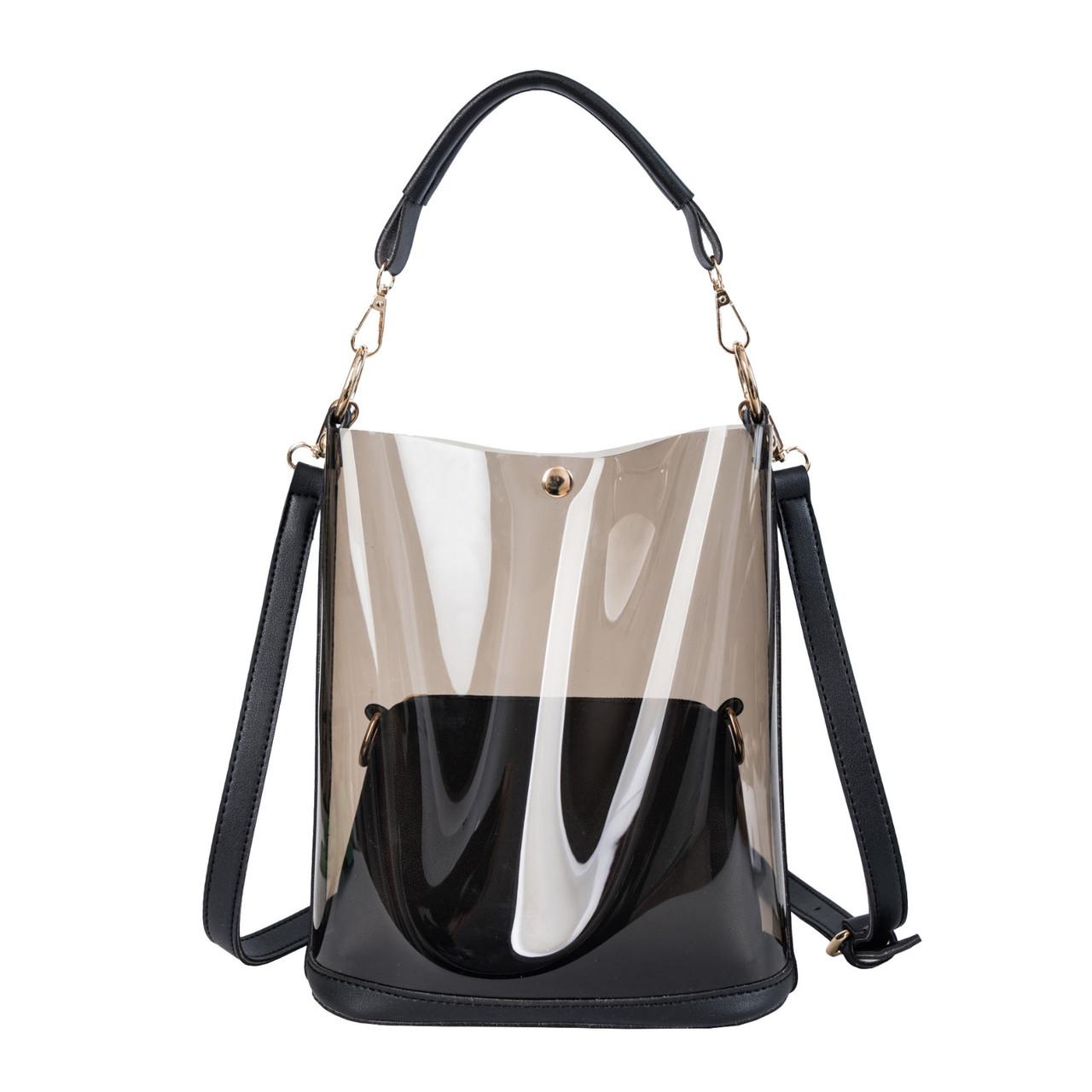 Модная женская сумка в сумке - прозрачная черная