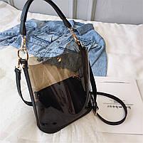 Модная женская сумка в сумке - прозрачная черная, фото 5