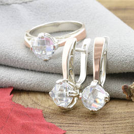 Серебряные комплекты кольцо и серьги