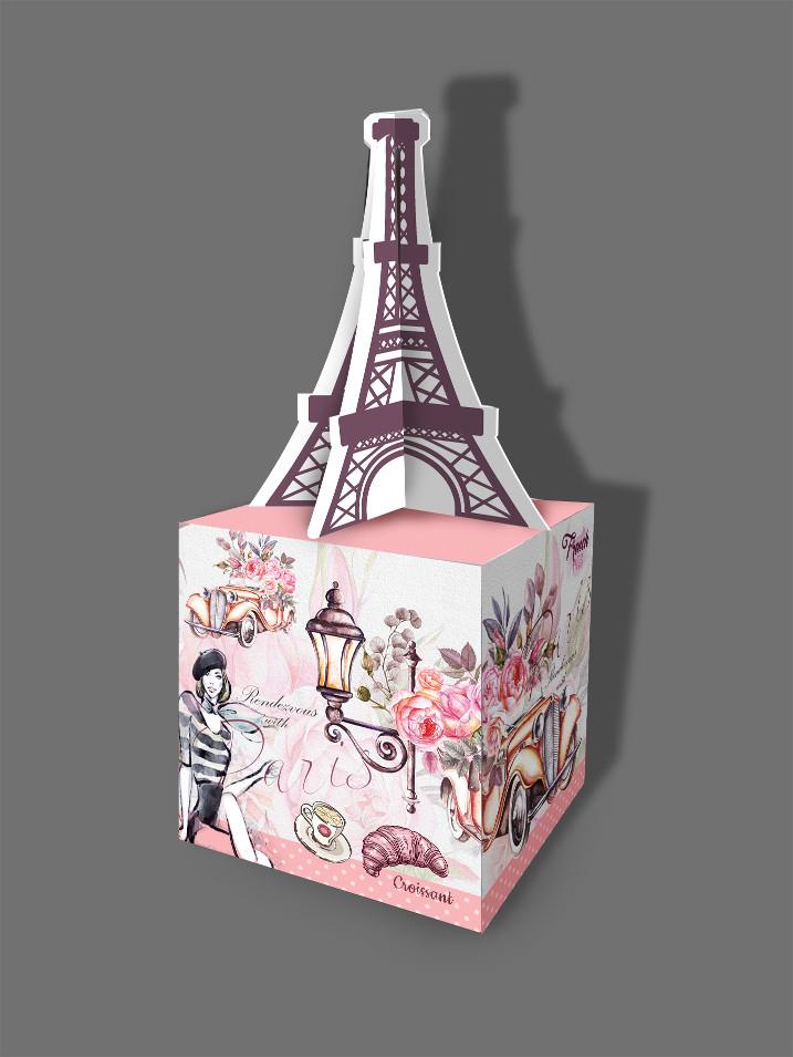 Подарункова паперова коробка 95*95*105 мм Вежа
