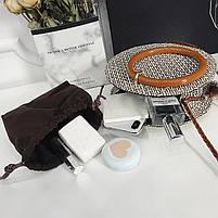Модна жіноча сумка через плече - плетені кругла, фото 2