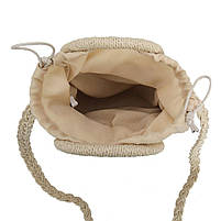 Модная женская сумка через плечо - плетеная Беж, фото 2