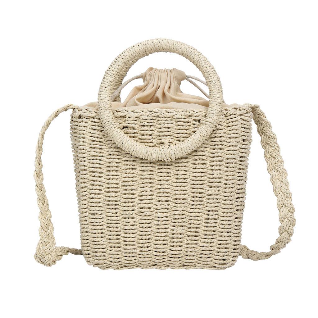 Модная женская сумка через плечо - плетеная Беж