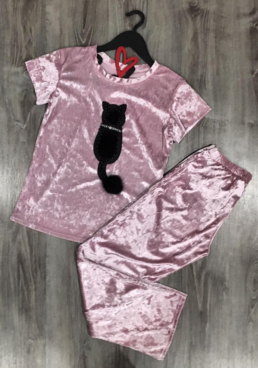 Стильная молодежная пижама штаны и футболка 608 кошка.
