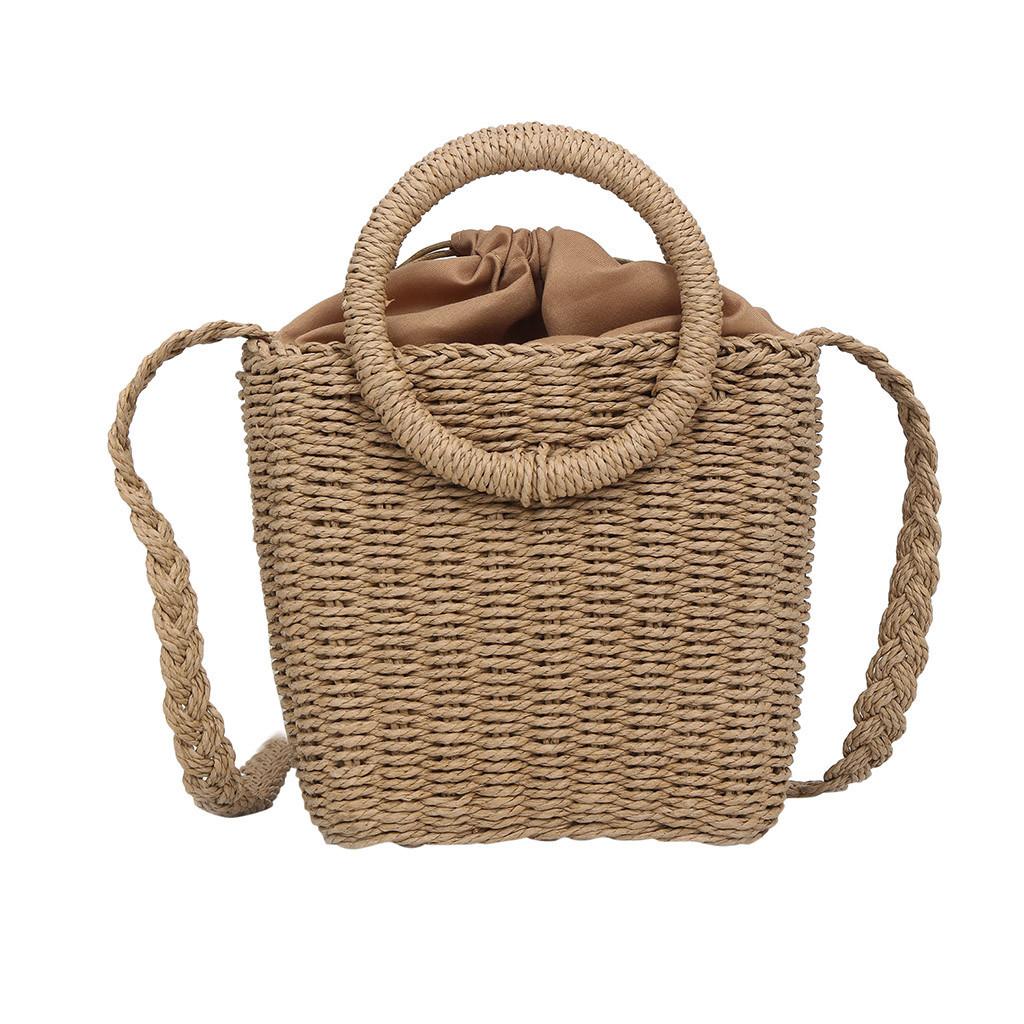 Модная женская сумка через плечо - маленькая плетеная