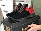 Мужские кожаные  кроссовки Nike Air Jordan черно красные, фото 2
