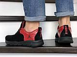 Мужские кожаные  кроссовки Nike Air Jordan черно красные, фото 3