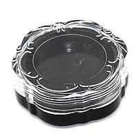 Баночка прозрачная для декора Цветок (черная крышка)