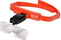 Линза на голову с подсветкой 2 LED 5 шт с кратностью 1х, 1.5 х, 2х, 2.5 х, 3.5 х Yato YT-73842