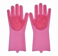 🔝 Перчатки силиконовые для мытья посуды хозяйственные для кухни Magic Silicone Gloves ярко розовые | 🎁%🚚