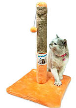 "Когтеточка - столбик на подставке (джут) ""Пушистик"" бежевая 30/55 см."