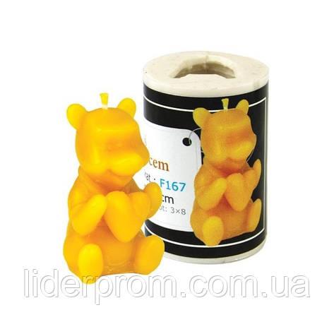 """Форма силіконова   для виготовлення свічок  """"Ведмедик з сердцем"""" Польща LYSON, фото 2"""