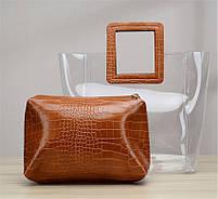 Модна жіноча сумка в сумці - прозора коричнева, фото 2