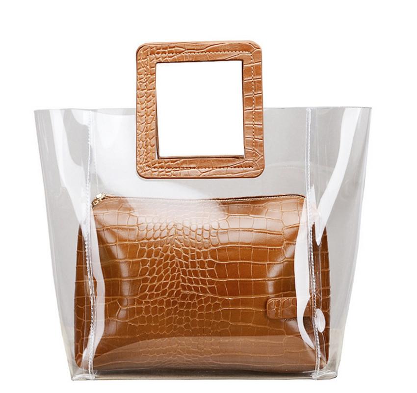 Модна жіноча сумка в сумці - прозора коричнева