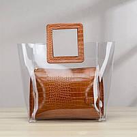 Модна жіноча сумка в сумці - прозора коричнева, фото 4