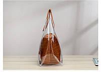 Модна жіноча сумка в сумці - прозора коричнева, фото 5