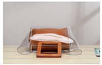 Модна жіноча сумка в сумці - прозора коричнева, фото 6