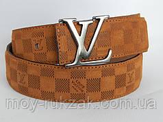 Ремень мужской замшевый Louis Vuitton, коричневый ширина 40 мм. 930209