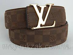 Ремень мужской замшевый Louis Vuitton, коричневый ширина 40 мм. 930208