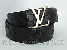 Ремень мужской кожаный Louis Vuitton, черный ширина 40 мм. 930210