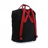 Сумка-рюкзак для девочки канкен Fjallraven Kanken classic школьный, городской, черный с бордовыми ручками, фото 8