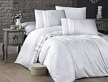 Комплект постельного белья Страйп Сатин евро  New Trend Beyaz