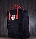 Сумка-рюкзак для девочки канкен Fjallraven Kanken classic школьный, городской, черный с бордовыми ручками, фото 4