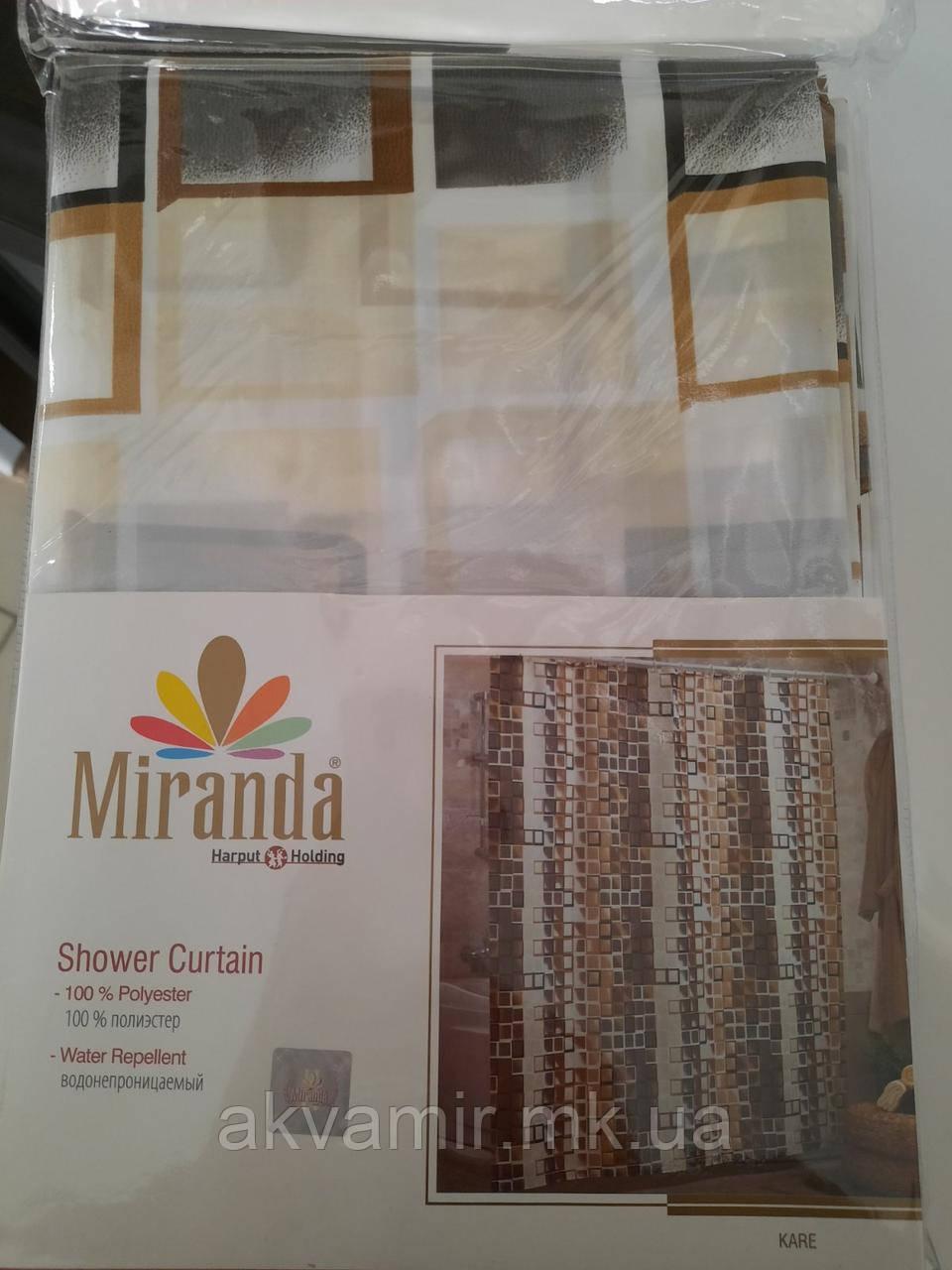 Штора для ванної Miranda KARE (Туреччина) 180х200 см бежево/коричнева