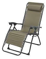 Кресло - шезлонг садовое раскладное для отдыха оливковое, фото 1
