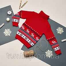 """Детский теплый шерстяной свитер """"Олени"""", для мальчика, цвет красный, на рост 98 - 104 см, фото 3"""