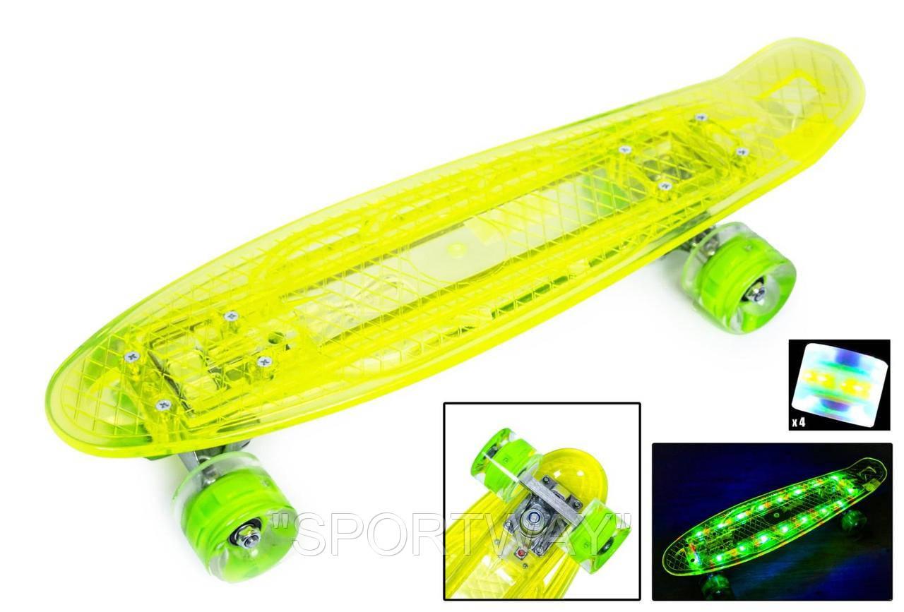 """Penny Board """"Led"""". Желтый цвет. Дека и колеса светятся!"""