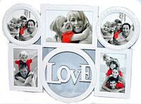"""Фотоколлаж """"Love"""" настенный белый 50х35х3 см на 5 фото"""