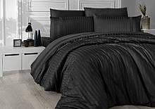Комплект постельного белья Страйп Сатин евро  New Trend  Siyah