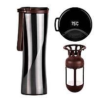 Термокружка Xiaomi KissKissFish MOKA Smart Coffee Tumbler Black с дисплеем и заварником (термос, термостакан)