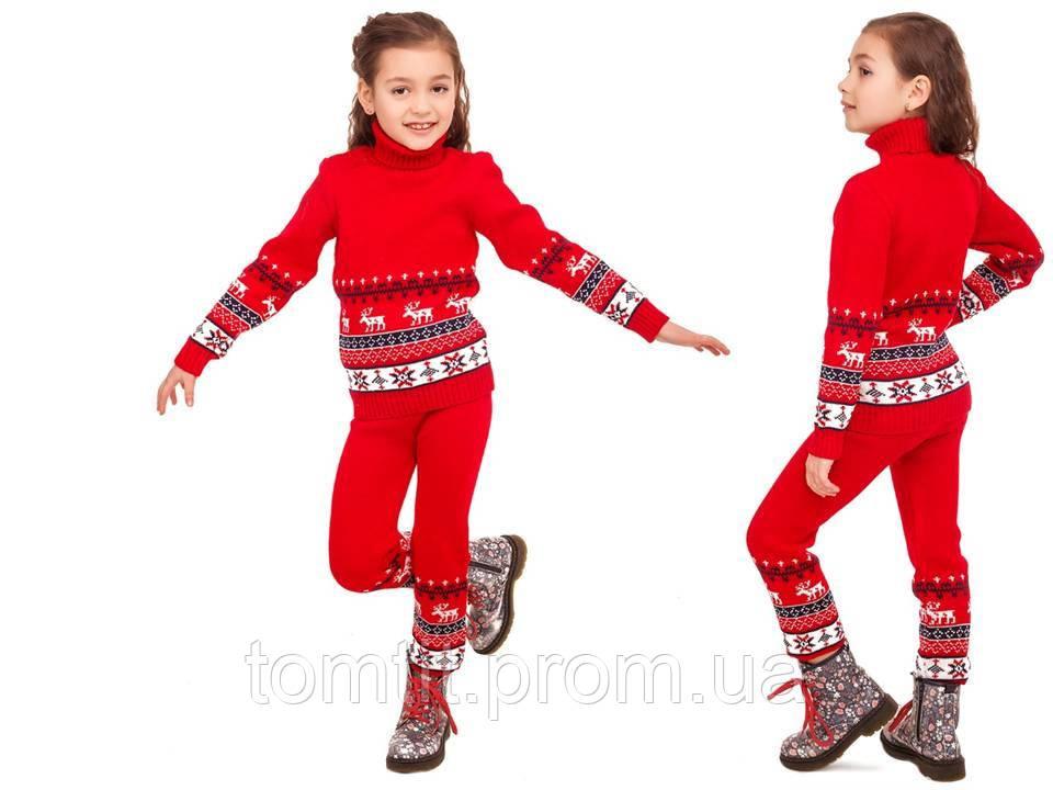 """Теплый шерстяной КОСТЮМ """"Олени"""" (свитер + брючки), для девочки, цвет красный, на рост 86 - 92 см"""
