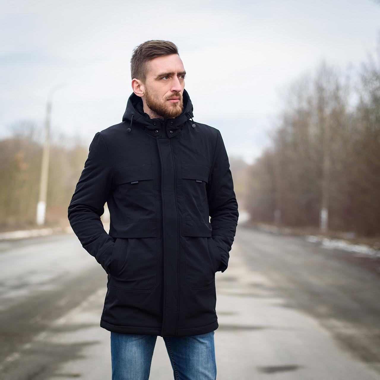 Чоловіча демісезонна куртка, чорного кольору