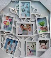 """Фото коллаж """"Дерево""""(маленькое) на 7 фото белое, черное"""