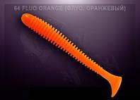 Съедобный силикон Crazy Fish VIBRO WORM fluo orange (флуоресцентно-оранжевый)