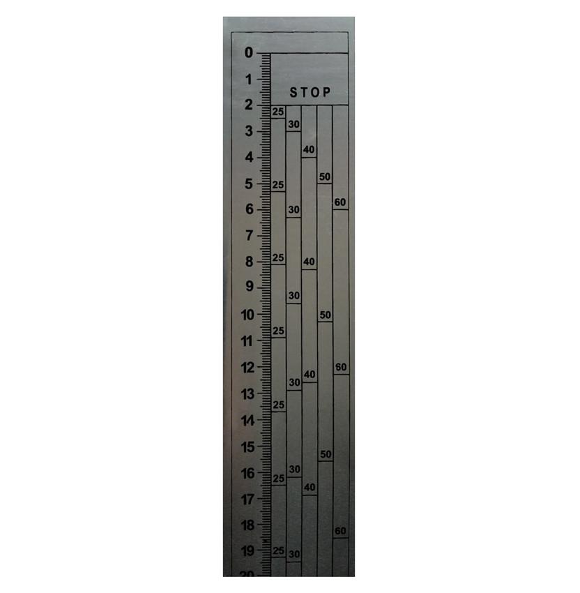 Лінійка на стрічкову пилораму, 0 зверху, металева