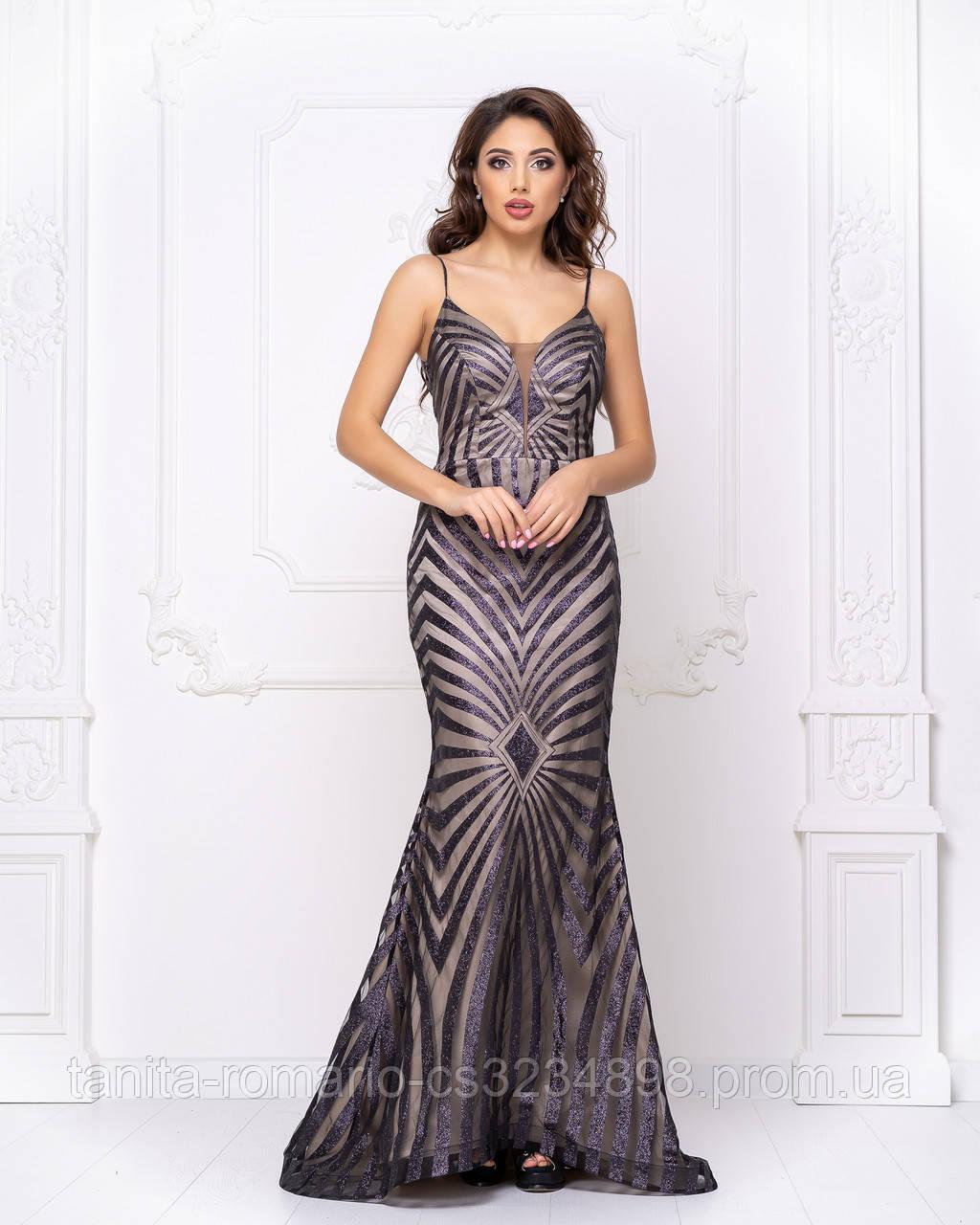 Випускна сукня годе розписана глітером
