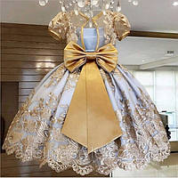 Нарядное детское платье на девочку с бантом  голубое с золотом  4-7 лет