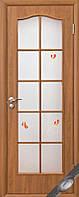 Дверь ФОРТИС, ПВХ ольха, орех премиум (стекло витраж с рис. Р1) тип3 ольха, 600