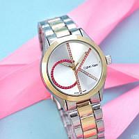 Часы Женские Кельвин Кляйн 8302CZM\ Браслет золотистый, серебристый \  часи годинник\  ГАРАНТИЯ !